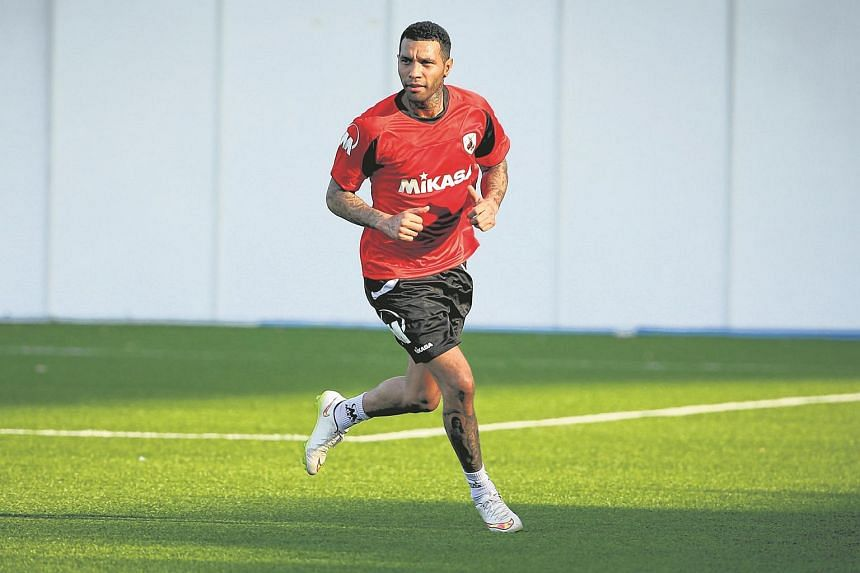 Former Arsenal and Liverpool winger Jermaine Pennant having his first training with S-league club Tampines Rovers.