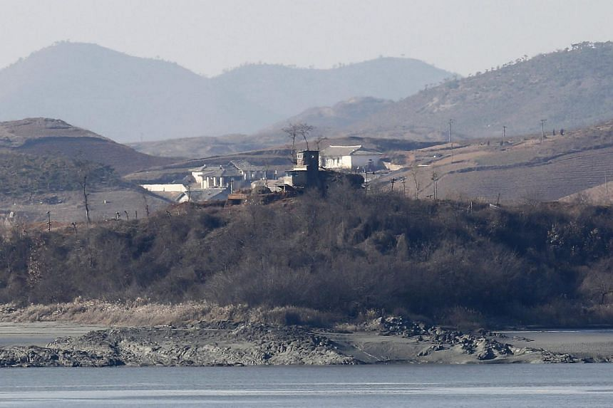 A view of a North Korean sentry post in the Gaepung-gun county from the Odusan observatory, South Korea on Jan 8.