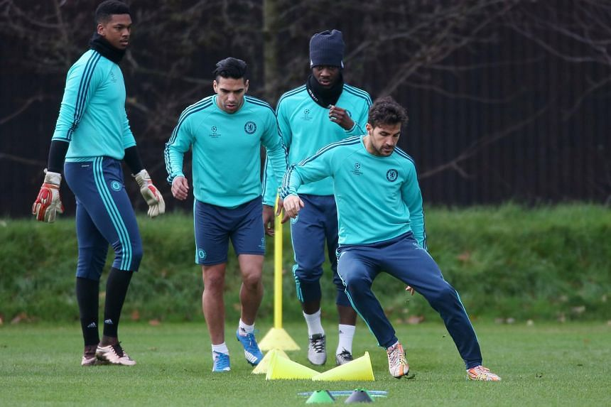 Chelsea's Radamel Falcao (second from left) during a training session.