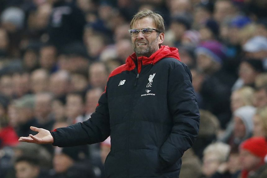Liverpool manager Juergen Klopp reacting during the match against Stoke City on Jan 5, 2016.