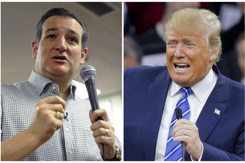 Republican presidential front-runner Donald Trump (right) steps up his attack on his closest rival Ted Cruz's eligibility to run for US president because Cruz is born in Canada.