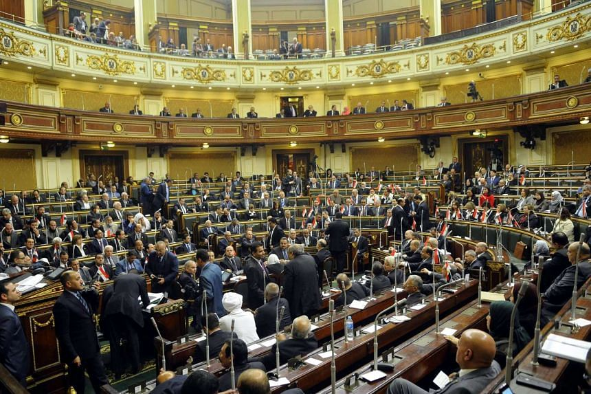 A general view showing members of the new Egyptian Parliament meeting during their inaugural session in Cairo,, Egypt, on Jan 10, 2016.