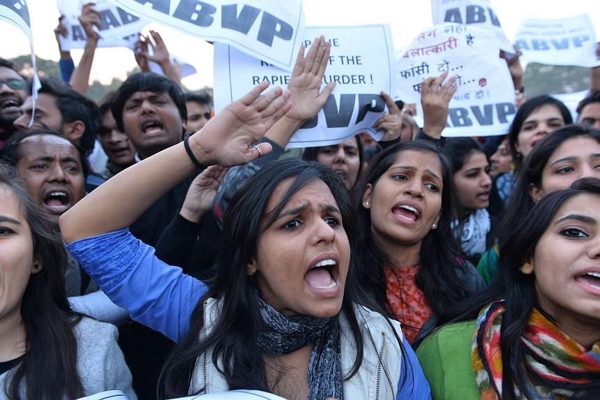 Indian demonstrators shout slogans during a rally in New Delhi on Dec 20, 2015, held to protest the release of a juvenile rapist.