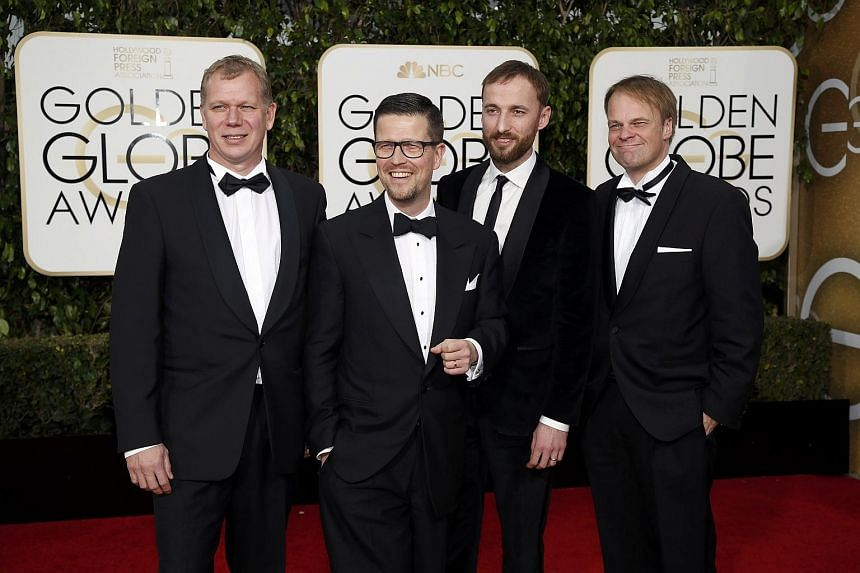 (From left) Kai Nordberg, Klaus Haro, Mart Avandi and Kaarle Aho from the Finnish film The Fencer arriving at the 73rd Golden Globe Awards.
