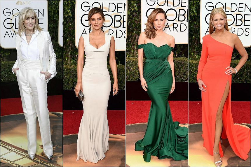 (From left) Actress Judith Light and TV personalities Maria Menounos, Keltie Knight and Nancy O'Dell arriving at the 73rd annual Golden Globe Awards.