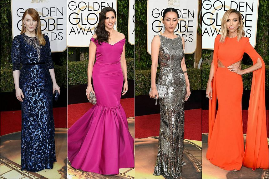 (From left) Actresses Bryce Dallas Howard, Michaela Watkins, Jane Wu and TV personality Giuliana Rancic arriving at the 73rd annual Golden Globe Awards.