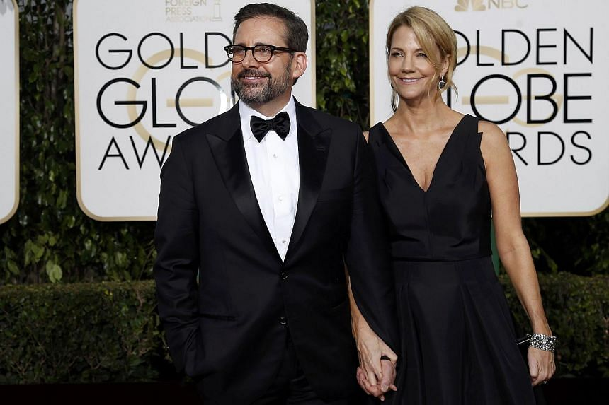 Actor Steve Carell and his wife Nancy arriving at the 73rd Golden Globe Awards.