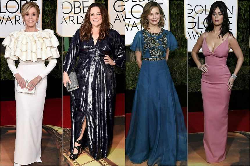 (From left) Actresses Jane Fonda, Melissa McCarthy, Calista Flockhart and singer Katy Perry arriving at the 73rd Golden Globe Awards.