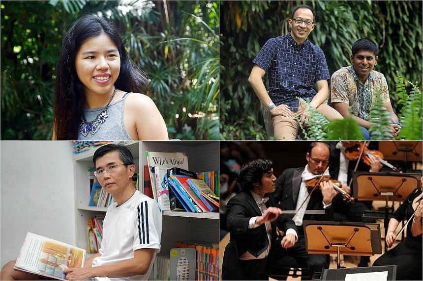 (Clockwise from top left) Yip Pin Xiu,  Edwin Seah, Kavickumar Muruganathan,  Darrell Ang and Ang Thiam Hock have been named as the final four candidates for The Straits Times Singaporean Of The Year award.
