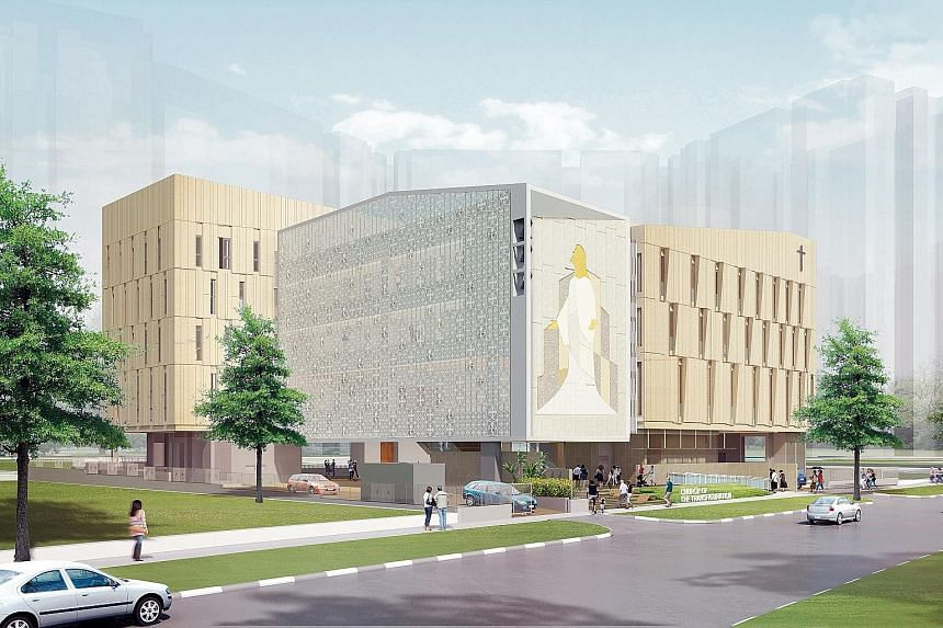 Artist's impression of the church. Construction of the five-storey building, which is slated to open in March next year