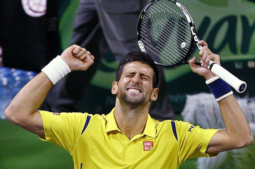 Novak Djokovic celebrating after beating Rafael Nadal 6-1, 6-2 in the Qatar Open final. He now leads their head-to-head rivalry 24-23.