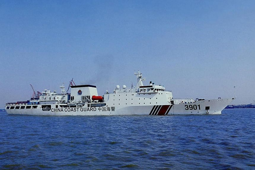 The China Coast Guard's new mega vessel, as shown in this photo published online. It is set to patrol the South China Sea, where tensions have been rising over territorial disputes with Asean states Vietnam, the Philippines, Malaysia and Brunei.
