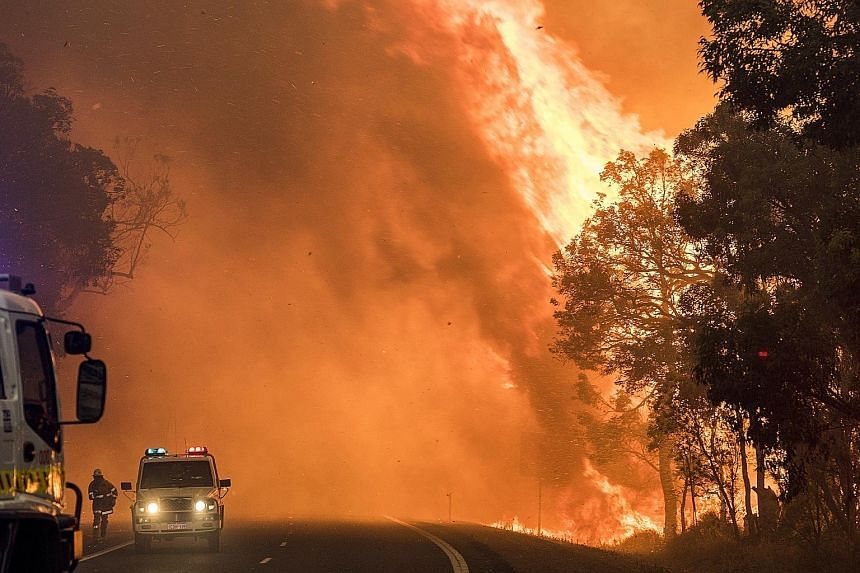 "This handout photo taken on Thursday shows a bushfire burning near Waroona, 110km south of Perth. Some 250 firefighters are fighting the blaze, which has a perimeter of about 226km, and the authorities said yesterday that it was ""contained"" within th"