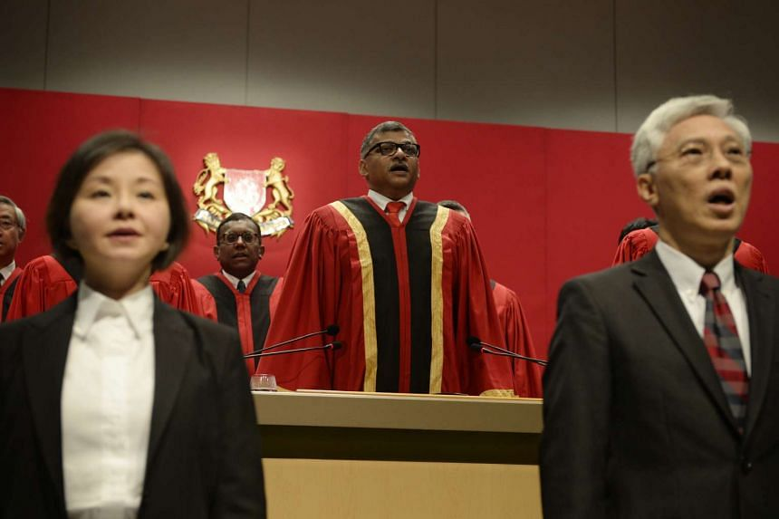 Chief Justice Sundaresh Menon singing the National Anthem at the opening of the Legal Year 2016, at the Supreme Court, on Jan 11, 2016.