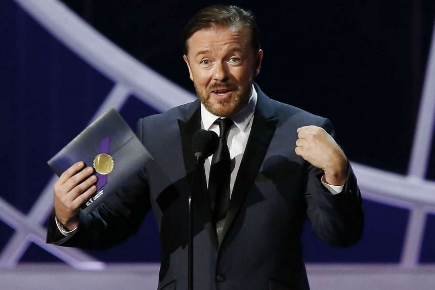 British comedian Ricky Gervais presenting an award at the 2014 Emmy Awards in Los Angeles.