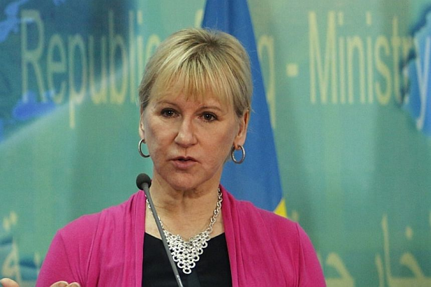 Swedish Foreign Minister Margot Wallstrom speaks during a press conference on Nov 2, 2015.
