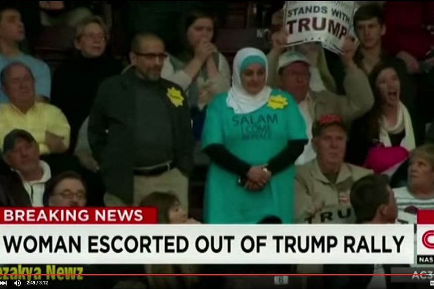 Ms Rose Hamid had stood up silently in the stands directly behind Republican presidential candidate Donald Trump during last Friday night's rally in South Carolina.