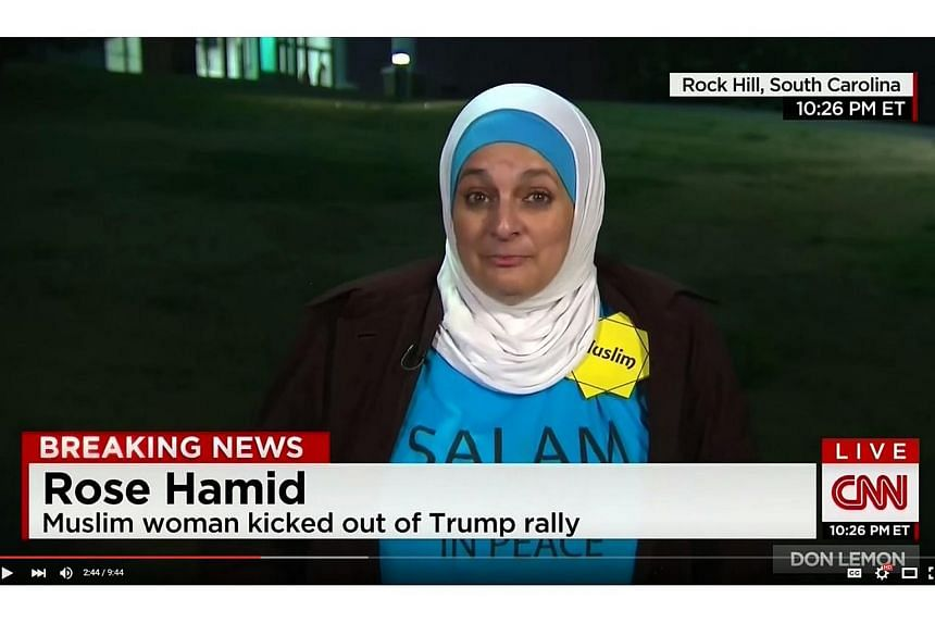 Ms Rose Hamid was kicked out of the rally for standing up behind Mr Donald Trump on Jan 8, 2016.
