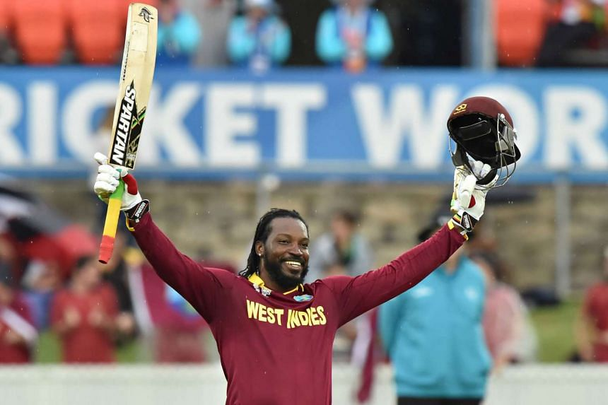 West Indies Chris Gayle celebrates his double century during the 2015 Cricket World Cup.
