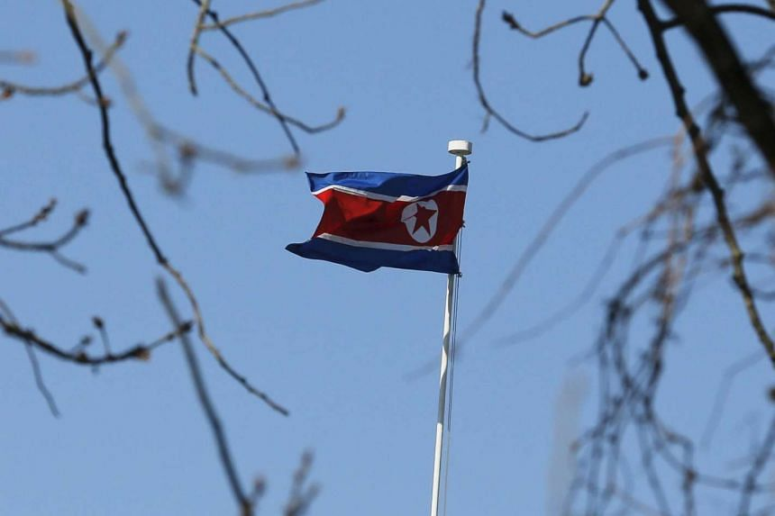 A North Korean flag at its embassy in Beijing on Jan 6, 2016.