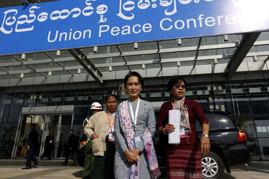 Myanmar democracy leader Aung San Suu Kyi leaving after attending the Peace Conference at the Myanmar Convention Center in Naypyidaw, Myanmar, on Jan 12, 2016.