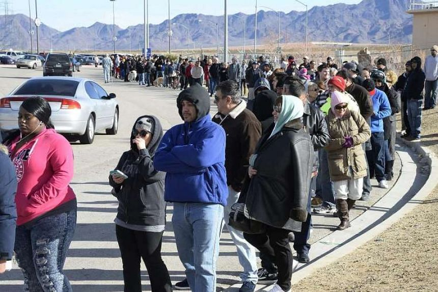 People waiting in line to purchase tickets for the Powerball lottery in San Bernardino, California, last Saturday.