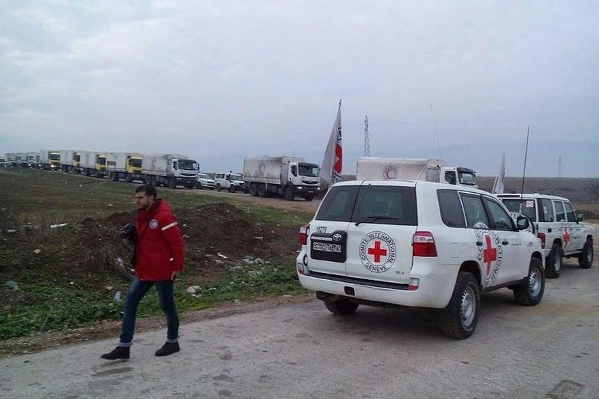 A Red Cross aid convoy on its way to the besieged city of Madaya, Syria on Jan 11, 2016.