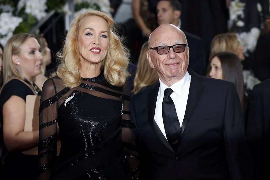 Model Jerry Hall and media magnate Rupert Murdoch at the 73rd Golden Globe Awards in Beverly Hills, California, on Jan 10.