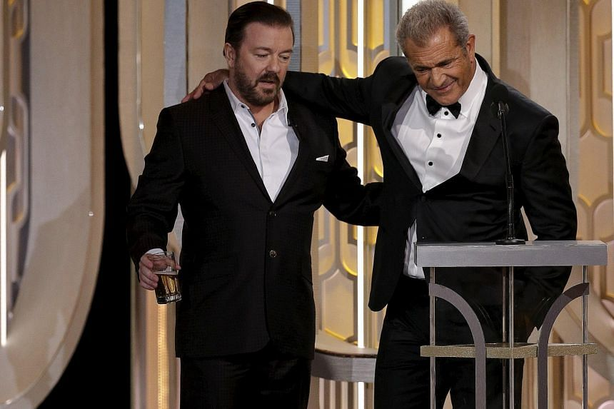 Ricky Gervais (above left) and actor Mel Gibson (above right).