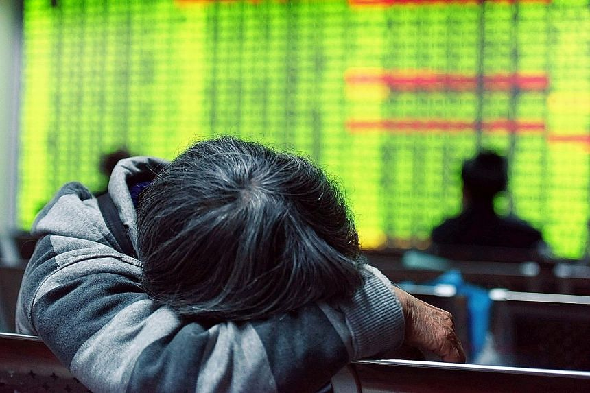 China's benchmark Shanghai index fell 5.33 per cent yesterday, as investors continued to worry over the state of the Chinese economy.