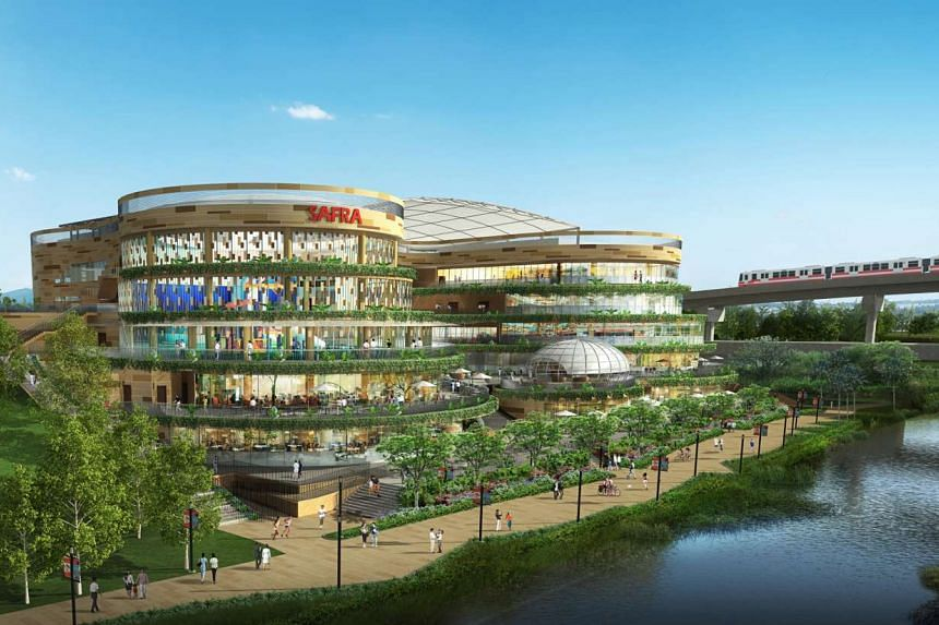Artist's impression of the five-storey Safra Punggol club, facing the Punggol Waterway.