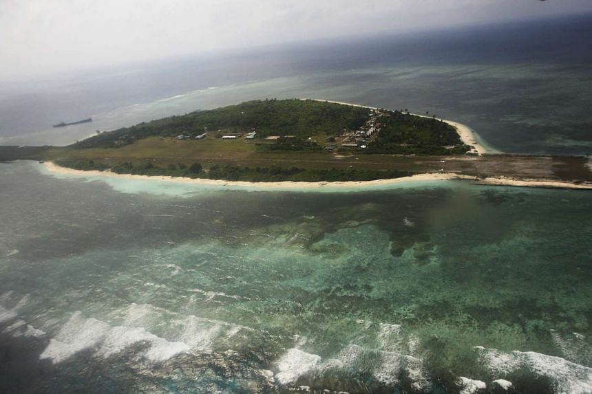 An aerial view of the Pagasa Island, which belongs to the disputed Spratly group of islands.