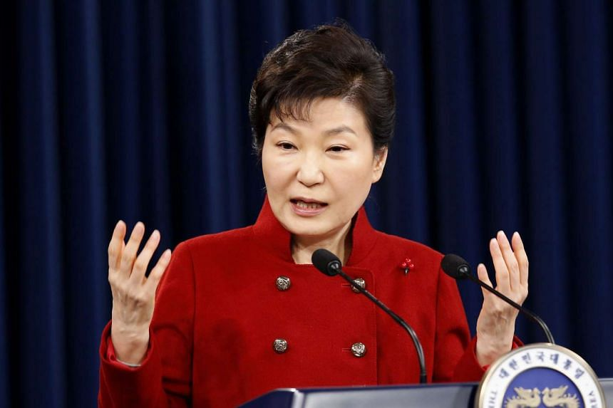 South Korean President Park Geun Hye issues a statement to the nation from the presidential office in Seoul, South Korea.