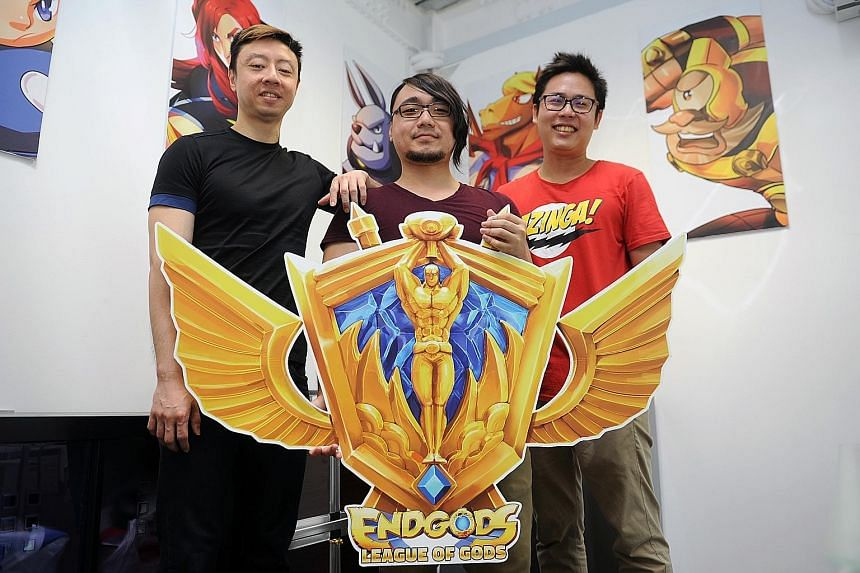 Following the success of his F&B venture, Mr Lee (from left) started mobile game studio SparkJumpers with Mr Prabowo and Mr Tan. The company has just launched a competition for its game, EndGods, called League of Gods, with a $100,000 prize pool.