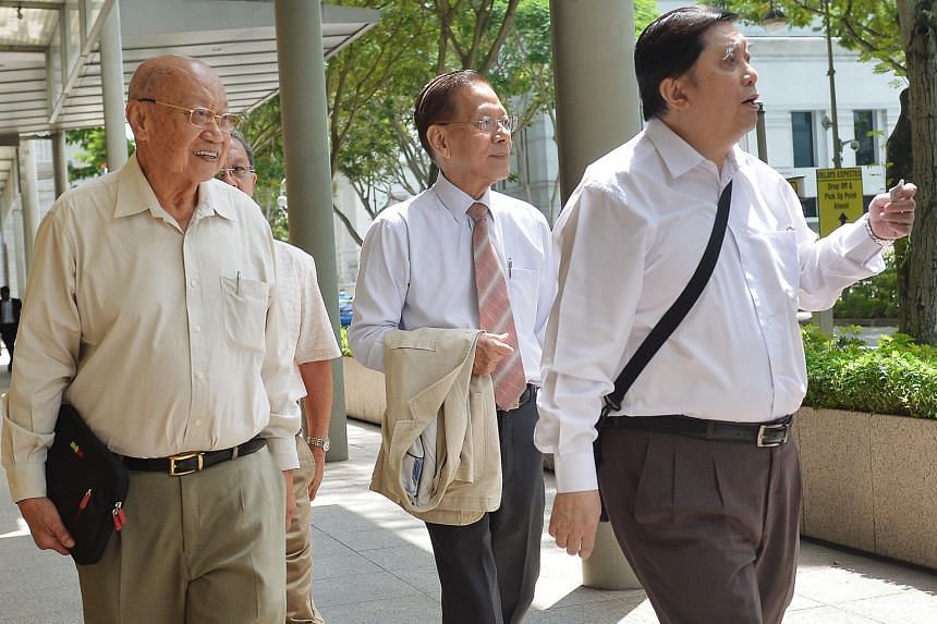 Hainan Tan Clan Association former deputy president Tan Khin Pang (from far left) and former presidents Tan Han Kwang and Tan Boon Hai are being sued by ex-MP Sin Boon Ann over the allegations, which were the result of events leading up to the December 20