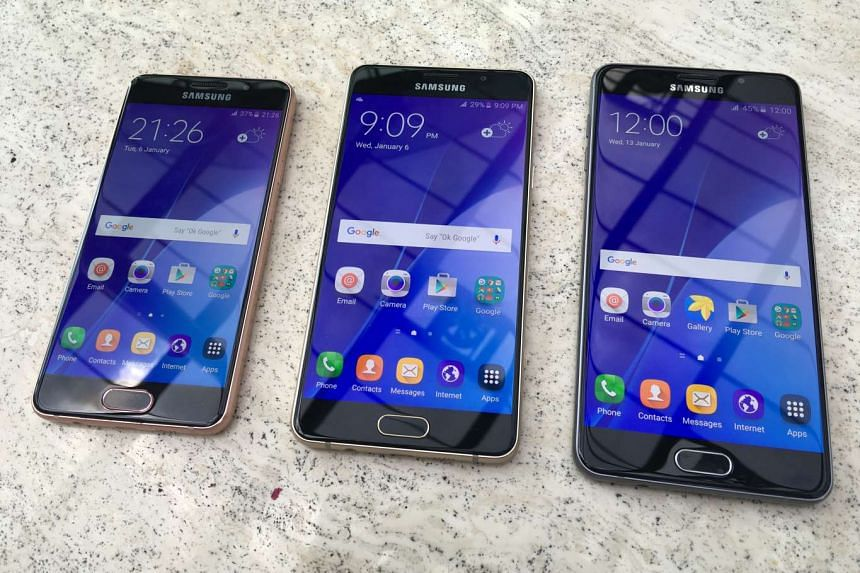 The new Samsung A (2016) series smartphones comes in three models of (from left) A3. A5. and A7.