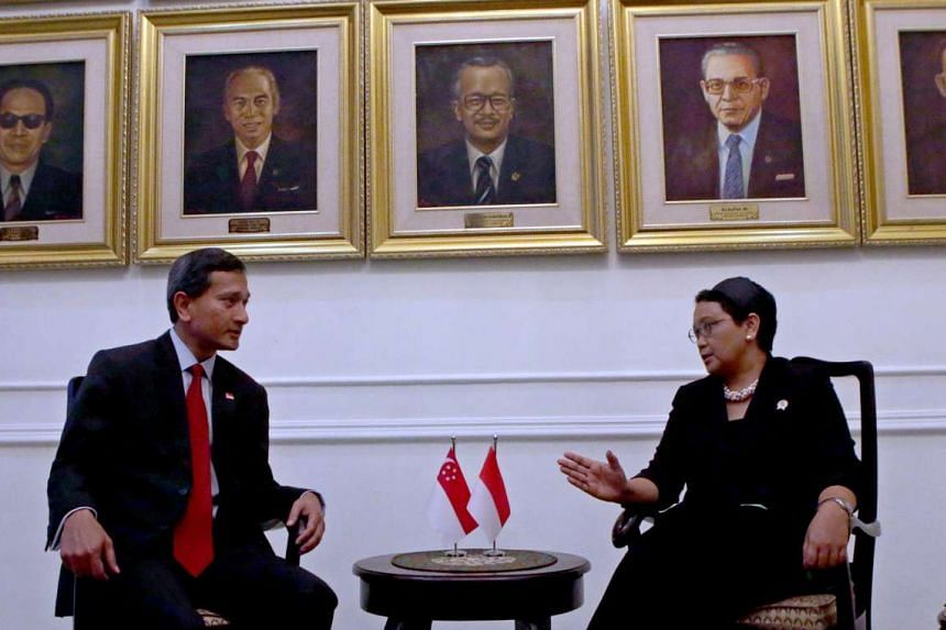 Foreign Affairs Minister Vivian Balakrishnan meeting his Indonesian counterpart, Ms Retno Marsudi, in Jakarta yesterday during his two-day inaugural visit.