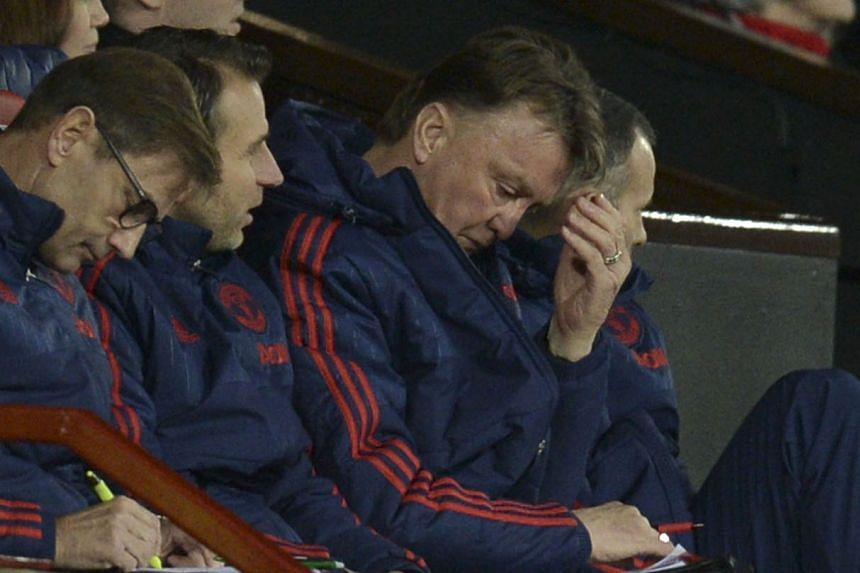 """Louis van Gaal looking frustrated or in his words, """"very bored"""", during the 1-0 FA Cup third-round win over Sheffield United."""
