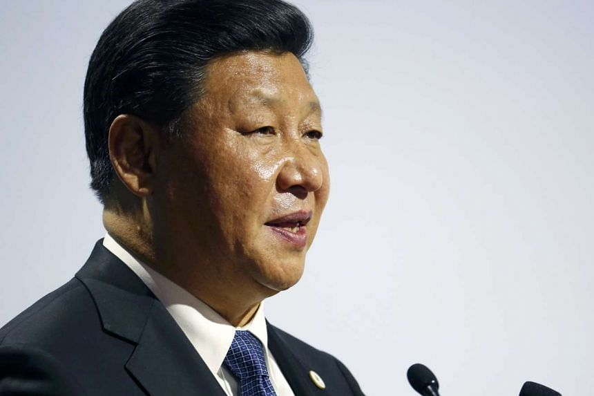 Chinese President Xi Jinping speaking at the World Climate Change Conference 2015 in France on Nov 30.