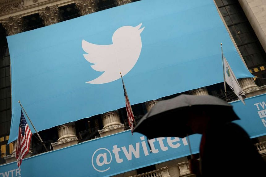 The Twitter logo displayed in front of the New York Stock Exchange.