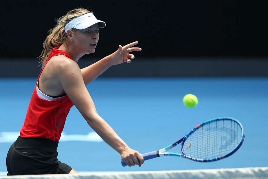 Maria Sharapova during a practice session in preparation for the Australian Open in Melbourne, Australia, on Jan 13, 2016.