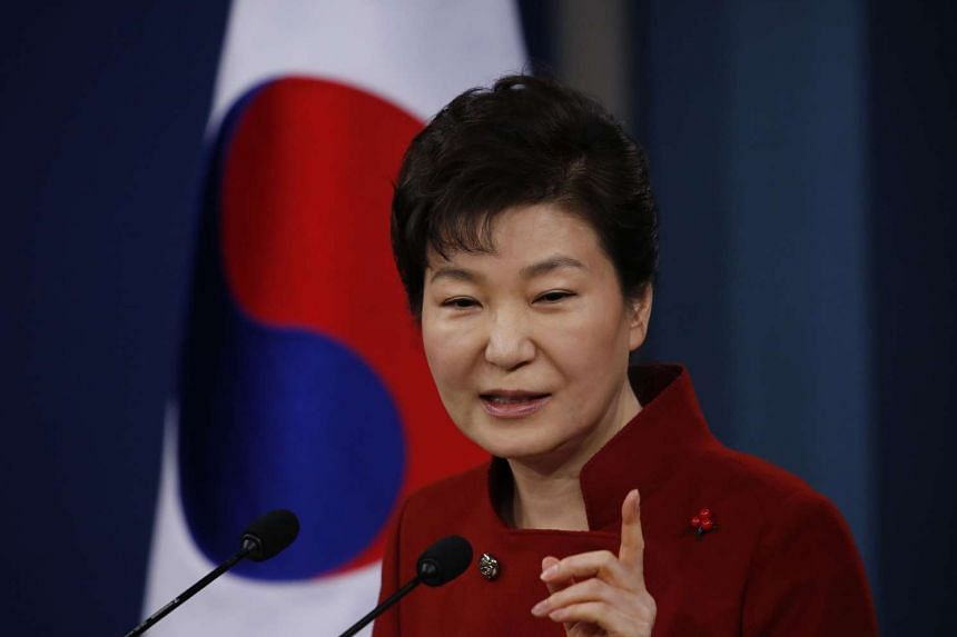 South Korean President Park Geun Hye speaking at a news conference in Seoul on Jan 13.