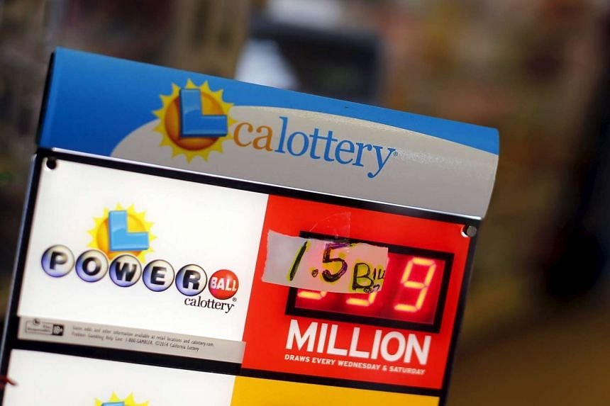 A handwritten sign is seen taped over electronic numbers on a Powerball sign.