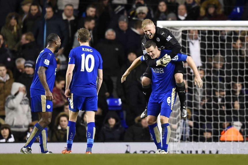 Leicester City players celebrating at the end of their match against Tottenham Hotspur on Jan 13, 2016.