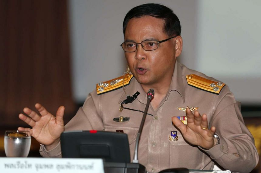 Vice Admiral Jumpol Lumpiganon speaks during a news conference on Thailand's Progress in Combating IUU Fishing in Bangkok on Jan 14, 2016.