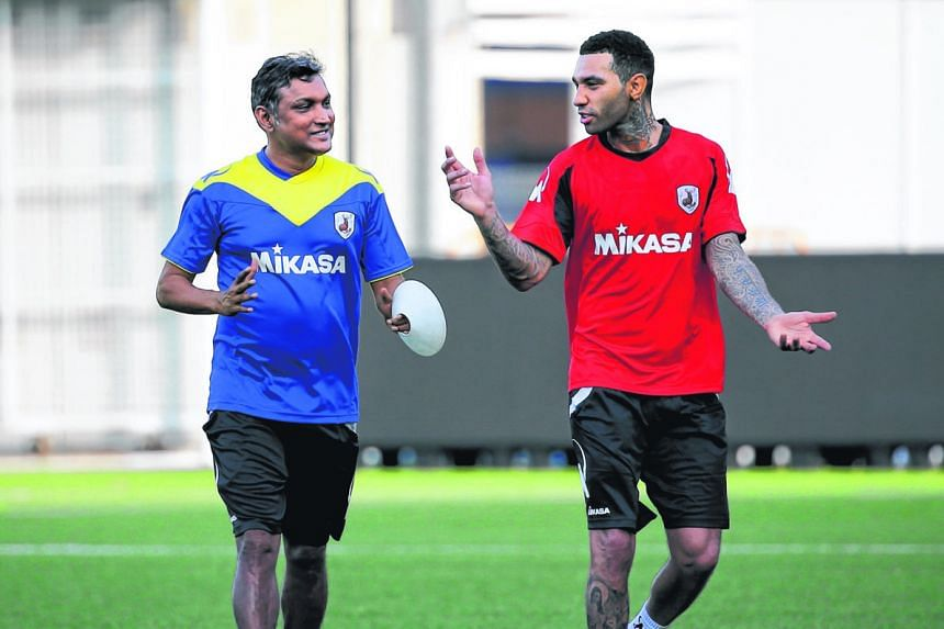 Tampines Rovers coach V. Sundramoorthy (left) says former EPL player Jermaine Pennant gets along easily with others in the team, is an attacking player who can create and score goals, and is someone whom others can look up to.