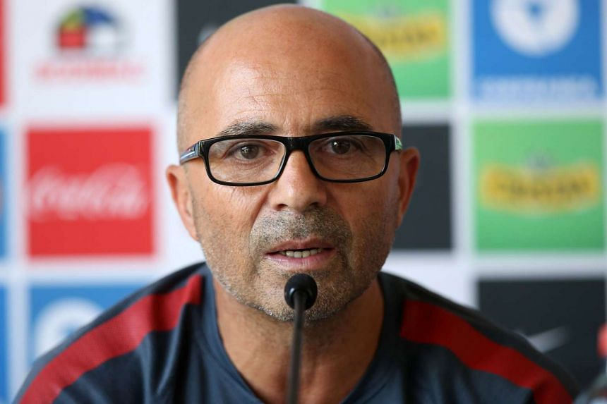Chile coach Jorge Sampaoli speaking at a press conference in Santiago on Jan 13.