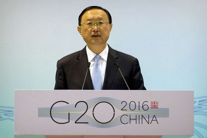 Chinese State Councillor Yang Jiechi speaks at the first 2016 G20 Sherpa Meeting in Beijing on Jan 14, 2016.