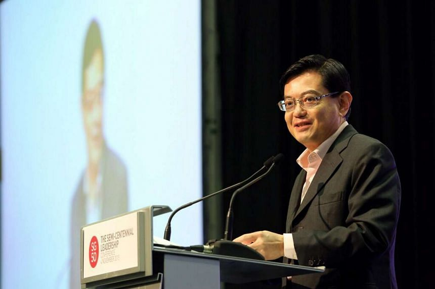 Minister for Finance Heng Swee Keat speaking at the Singapore Business Federation's Semi-Centennial Leadership Conference.
