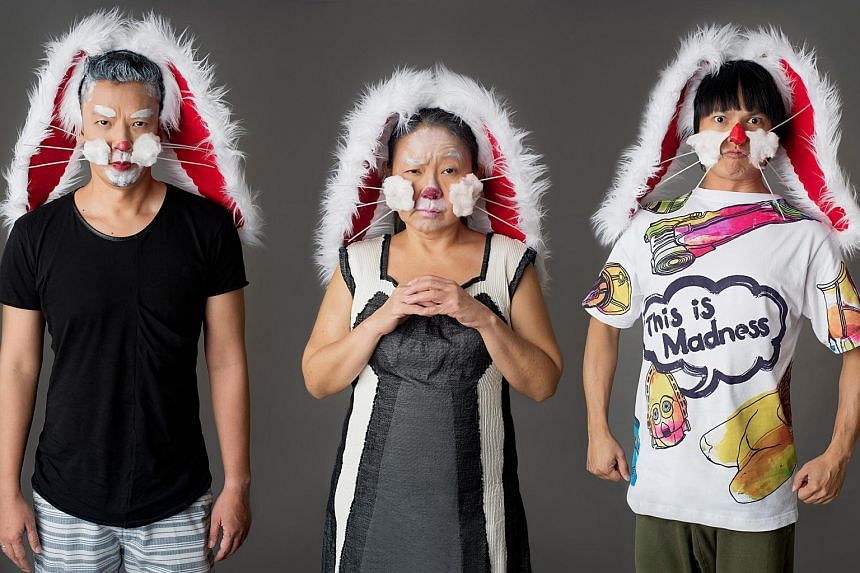 (From left) Sani Hussin, Neo Swee Lin and Zhou Chongqing are among the cast of White Rabbit Red Rabbit.
